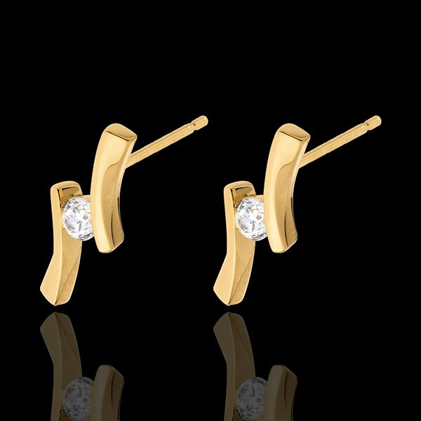 Oorbellen Liefdesnest - Diamantapostroph- 18 karaat geelgoud - 0.14 karaat - 18 karaat