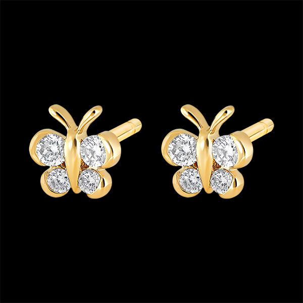 Oorbellen - Mon Petit Papillon - 9 karaat geelgouden stud en diamanten