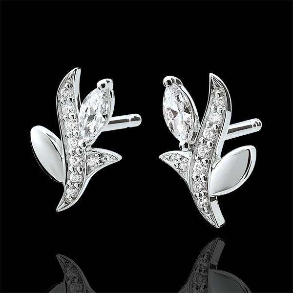 Oorbellen Mysterieus Bos - 18 karaat witgoud en zaadjes in Diamant