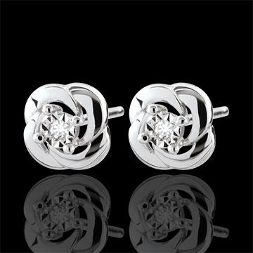 Oorbellen Ontluiking - Camellia - 9 karaat witgoud