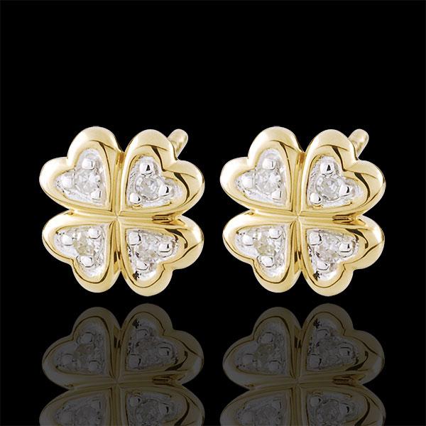 Oorbellen Ontluiking - mijn geluk - Diamant - 9 karaat witgoud en geelgoud