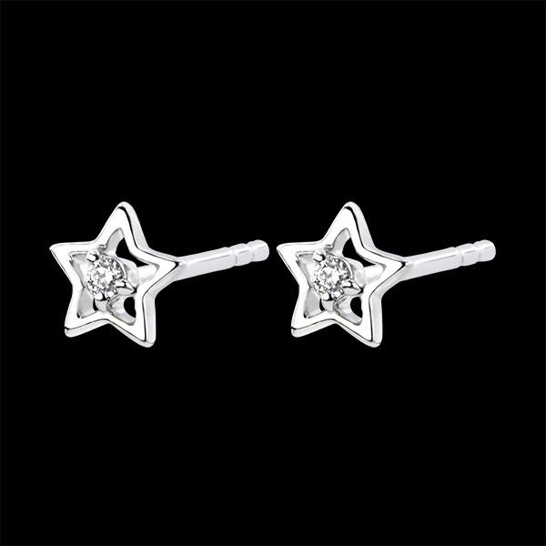 Oorbellen Overvloed - Mijn ster - 9 karaat witgoud met diamanten