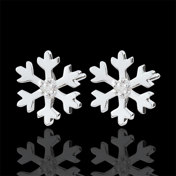 Oorbellen Sneeuwvlok - 9 karaat witgoud