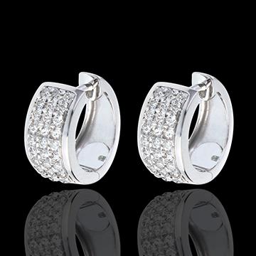 Oorbellen Sterrenbeeld - Astraal - groot model - geplaveid 18 karaat witgoud - 0,43 karaat - 54 Diamanten