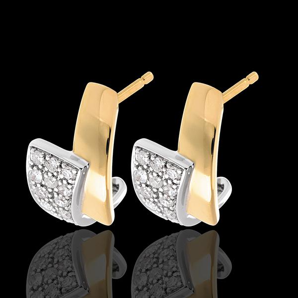 Oorbellen Tropisch 18 karaat witgoud en geelgoud met pavézetting - 24 Diamanten