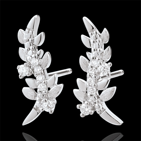 Oorbellen Verrukte Tuin - Gebladerte Royal - 18 karaat witgoud met Diamanten
