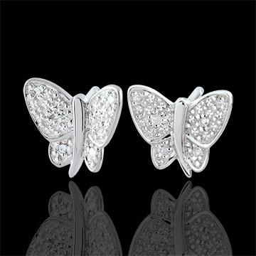 Oorbellen Denkbeeldige Balade - Muzikale Vlinder - wit goud