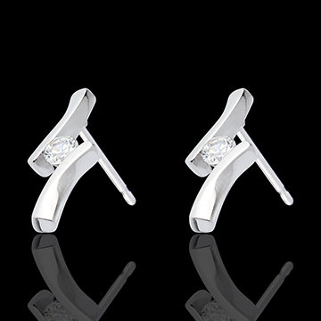 Orecchi Nido Prezioso - Apostrofo diamanti - Oro bianco - 18 carati - Diamanti