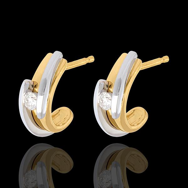 Orecchi Nido Prezioso - Bipolare-Oro giallo e Oro bianco - 18 carati - Diamanti