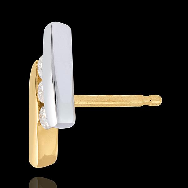 Orecchi trilogy Nido Prezioso- Citazione- Oro giallo e Oro bianco - 18 carati - 6 Diamanti -0.18 carati