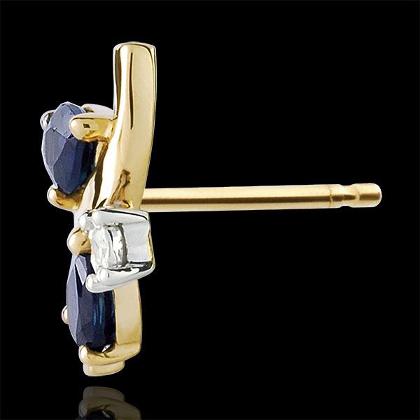 Orecchini Algoma - Oro giallo - 9 carati - 4 Zaffiri - 2 Diamanti - 0.85 carati