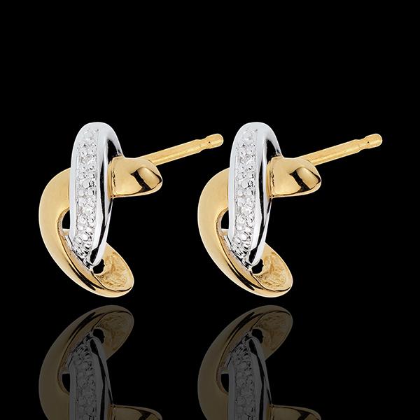 Orecchini Ammirazione - Oro bianco e Oro giallo - 18 carati - 4 Diamanti