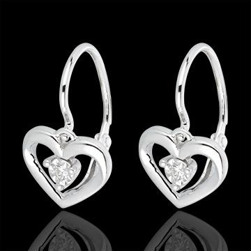 Orecchini Amore Mio - Oro bianco - 18 carati - 2 Diamanti