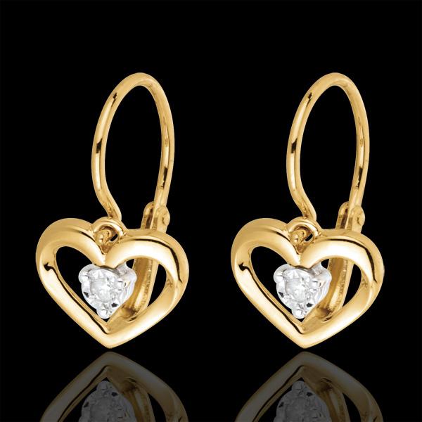 Orecchini Amore Mio - Oro giallo - 18 carati - 2 Diamanti