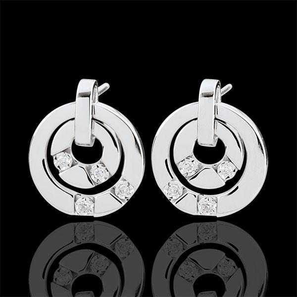Orecchini Armonia - Oro bianco - 18 carati - 8 Diamanti