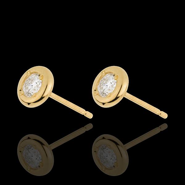 Orecchini Bambolina Solitario - Oro giallo - 18 carati - 2 Diamanti - 0.21 carati