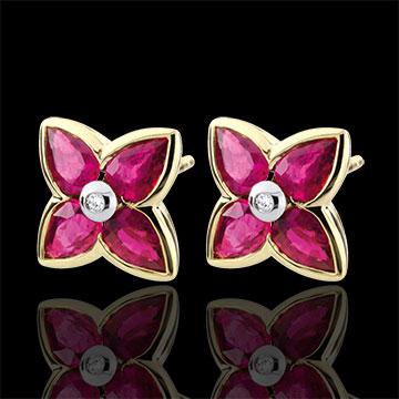 Orecchini Bella stella - Oro giallo - 9 carati - 2 Diamanti - 8 Rubini - 1.64 carati