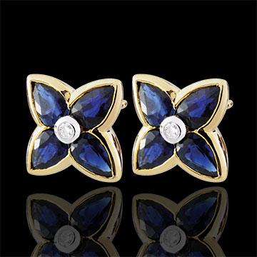 Orecchini Bella stella - Oro giallo - 9 carati - 2 Diamanti - 8 Zaffiri - 1.7 carati