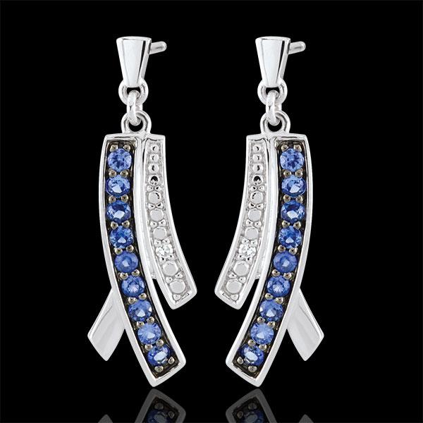 Orecchini Blina - Oro bianco - 9 carati - 18 Zaffiri - 2 Diamanti - 0.32 carati