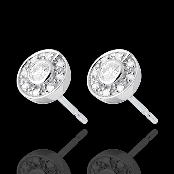 Orecchini Bottone - Oro bianco - 18 Diamanti - 0.25 carati