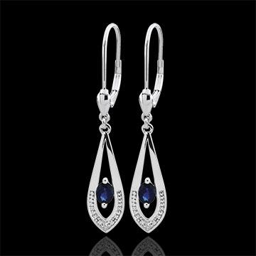 Orecchini - Britanie - Oro bianco - 9 carati - 2 Diamanti - 2 Zaffiri - 0.45 carati
