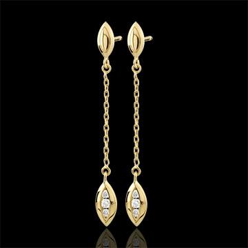 Orecchini Calissons - Oro giallo - 9 carati - 6 Diamanti - 0.12 carati