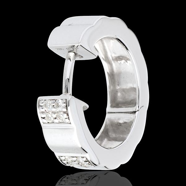 Orecchini a cerchio Arcata - Oro bianco pavé - 18 carati - Diamanti - 0.13 carati