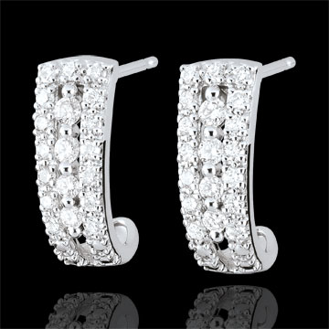 Orecchini a cerchio Destino - Medici - diamanti e oro bianco 9 carati