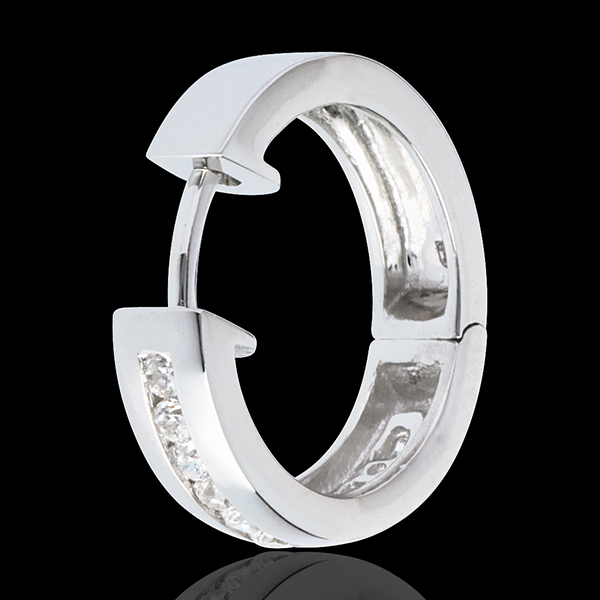 Orecchini a cerchio - Oro bianco - 18 carati - 22 Diamanti - incastonatura a binario - 0.33 carati