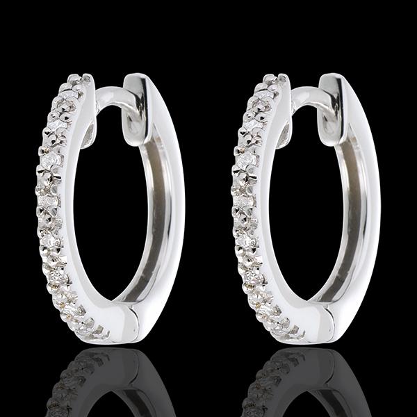 Orecchini a cerchio Oro bianco semi pavé- 16 Diamanti