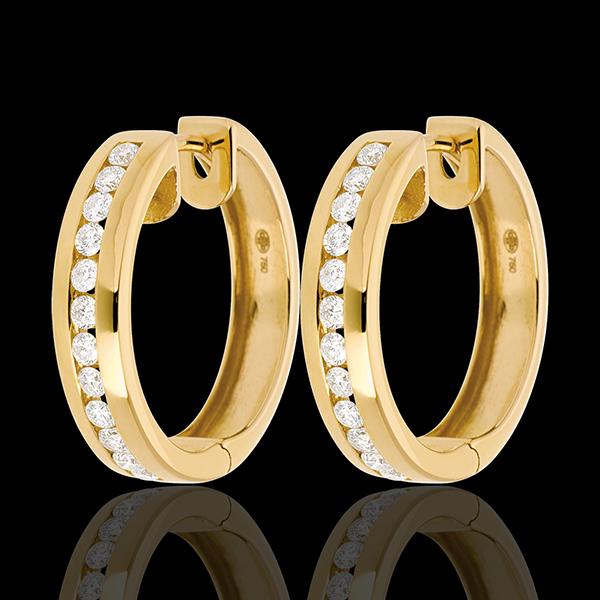 Orecchini a cerchio - Oro giallo - 18 carati - 24 Diamanti - incastonatura a binario - 0.43 carati