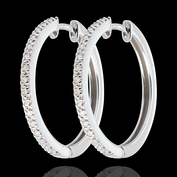 Orecchini a cerchio semi pavé - Oro bianco - 18 carati - 32 Diamanti - 0.11 carati