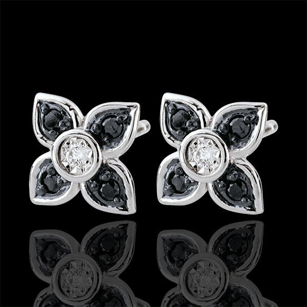 Orecchini Chiaroscuro - Giglio nero - Oro bianco - 9 carati -Diamanti bianchi e neri