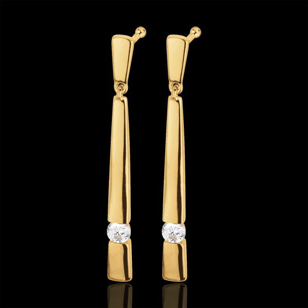 Orecchini Cleopatra - Oro giallo - 18 carati - Diamanti - 0.10 carati