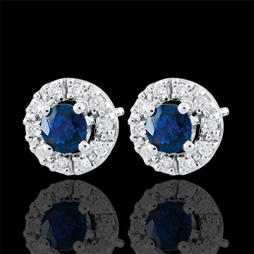 Orecchini Clévia - Oro bianco - 9 carati - 20 Diamanti - 2 zaffiri