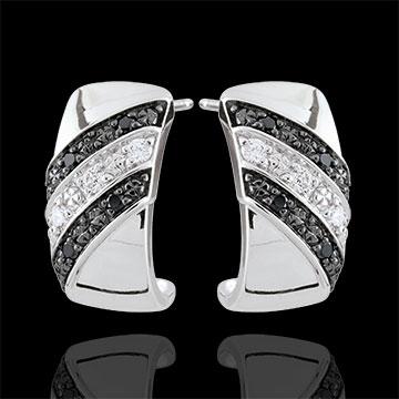 Orecchini Creoli Chiaroscuro - Crepuscolo - Oro bianco - 18 carati - Diamanti bianchi e diamanti neri