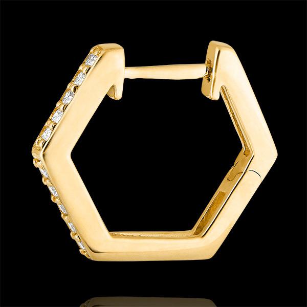 Orecchini creoli Freschezza - Hexagonia - oro giallo 9 carati e diamanti