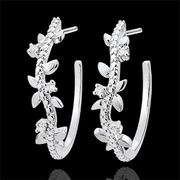 Orecchini creoli Giardino Incantato - Fogliame Reale - Oro bianco e Diamanti - 18 carati