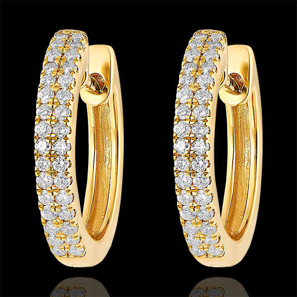 Orecchini Creoli semi-pavé Freschezza - Celeste - oro giallo 9 carati e diamanti