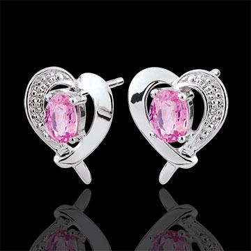 Orecchini Cuore di Fragola - Oro bianco - 9 carati - 2 Zaffiri rosa - 0.48 carati