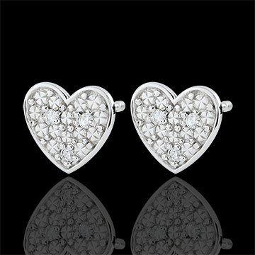 Orecchini Cuore Dita - Oro bianco - 9 carati - 6 Diamanti