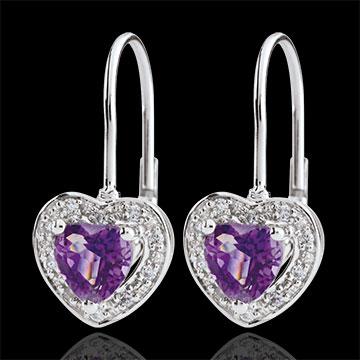 Orecchini Cuore Incantato - Oro bianco - 9 carati - 20 Diamanti - Ametista - 0.83 carati