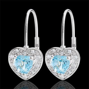 Orecchini Cuore Incantato - Oro bianco - 18 carati - 20 Diamanti - Topazio blu - 1.19 carati