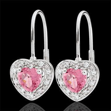 Orecchini Cuore Incantato - Oro bianco - 9 carati - 20 Diamanti - Topazio rosa - 1 carato