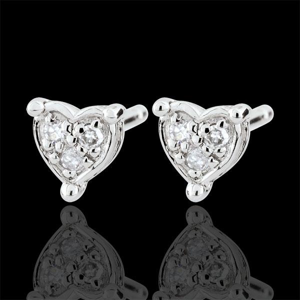 Orecchini Cuore Romy - Oro bianco - 9 carati - 6 Diamanti