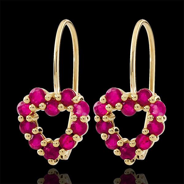 Orecchini Cuore Rosie - Oro giallo - 9 carati - 20 Rubini - 1.24 carati