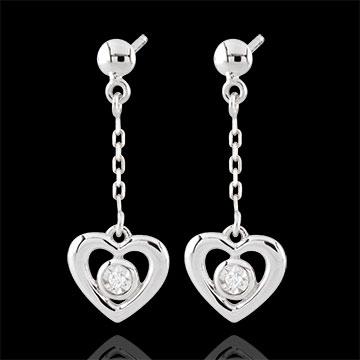 Orecchini Cuori Pendenti - Oro bianco - 9 carati - 2 Diamanti