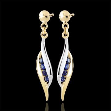 Orecchini Daniella - Oro giallo e Oro bianco - 9 carati - 8 Zaffiri - 0.18 carati