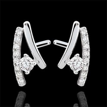 Orecchini diamante Erina - Oro bianco - 9 carati - 18 Diamanti - 0.17 carati
