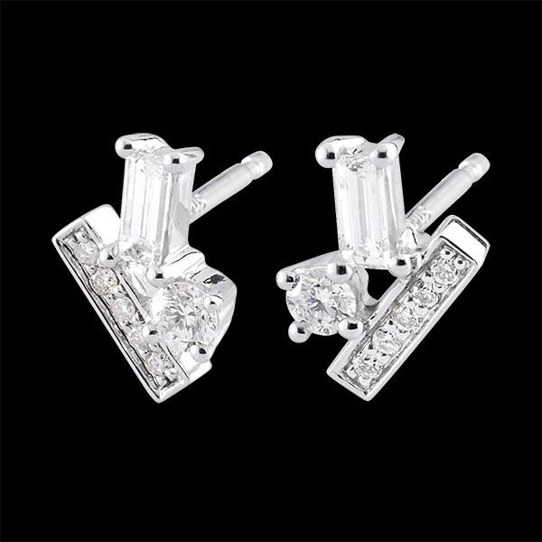 Orecchini Diamanti di Brina - Oro bianco - 9 carati - 14 Diamanti - 0.34 carati